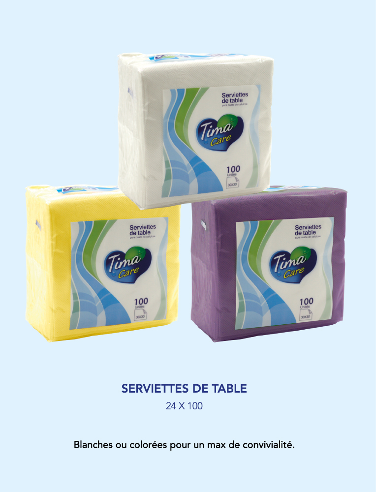 Tima Care Serviettes de tables | 100 unités